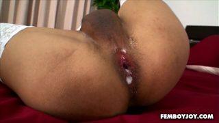 Asian lady boy having hard ass creampie