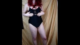Shemale MILF wears Silicone Female Mask and Swimsuit