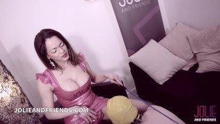 Tranny Camilla Jolie as mistress with slave whipped up to cumshot in face